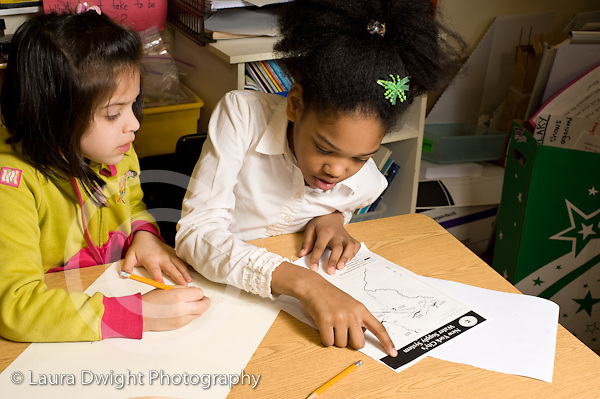 Elementary School New York Grade 2 two girls working together science  social studies project horizontal