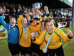 Duleek Allstars under 10 team celebrate after beating Grove Rangers at the Drogheda and District schoolboys cup finals in Hunky Dorys park. Photo: Colin Bell/pressphotos.ie