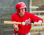 6 March 2015: Washington Nationals pitcher and Baseball America prospect Erick Fedde works on bunting skills during Spring Training at the Carl Barger Baseball Complex in Viera, Florida. Mandatory Credit: Ed Wolfstein Photo *** RAW (NEF) Image File Available ***