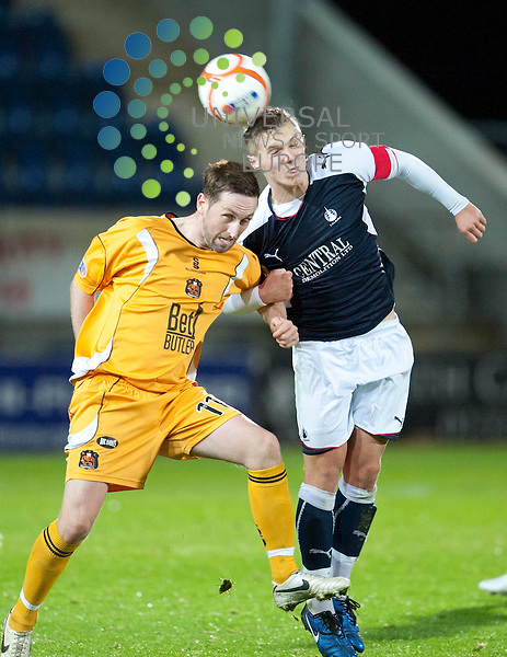 Dale Fulton of Falkirk challenges for the ball against David Winters of Dumbarton during the Stirlingshire Cup Final between Falkirk and Dumbarton at The Falkirk Stadium, Falkirk. 1 November.  Picture by Ian Sneddon / Universal News and Sport (Scotland). All pictures must be credited to www.universalnewsandsport.com. (Office) 0844 884 51 22.