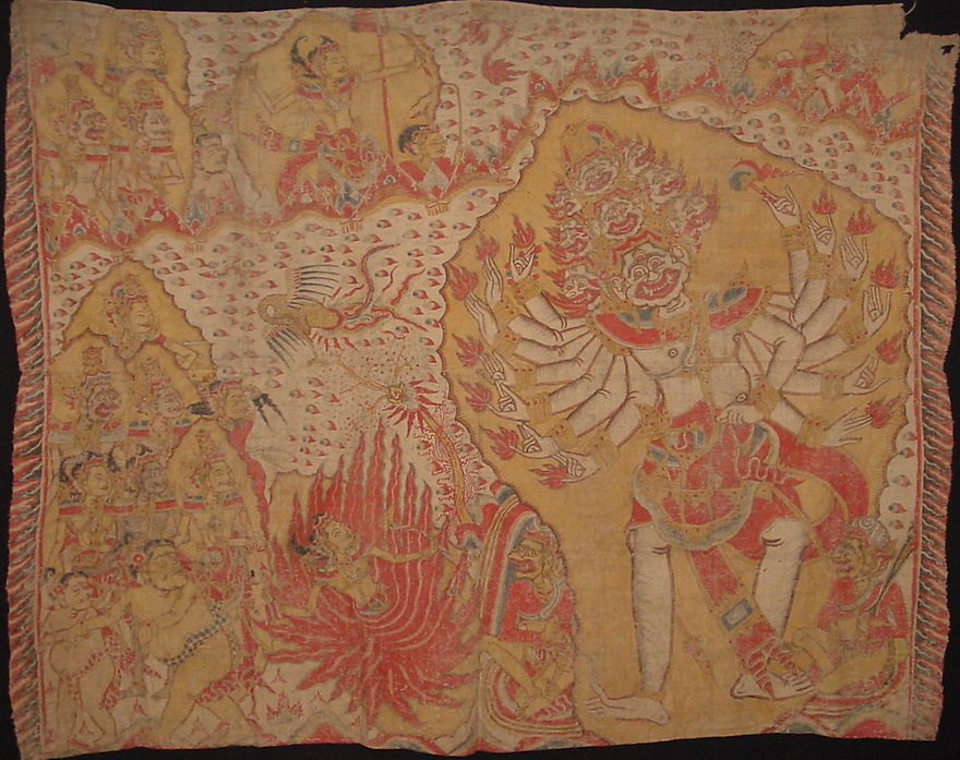 Balinese Ramayana painting on Cloth, late 19th century. 160 x 130cm