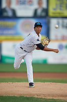 Trenton Thunder pitcher Rony Garcia (37) during an Eastern League game against the New Hampshire Fisher Cats on August 20, 2019 at Arm & Hammer Park in Trenton, New Jersey.  New Hampshire defeated Trenton 7-2.  (Mike Janes/Four Seam Images)