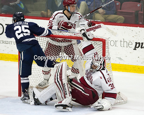 Chris Izmirlian (Yale - 25), Wiley Sherman (Harvard - 25), Merrick Madsen (Harvard - 31) - The Harvard University Crimson defeated the Yale University Bulldogs 6-4 in the opening game of their ECAC quarterfinal series on Friday, March 10, 2017, at Bright-Landry Hockey Center in Boston, Massachusetts.