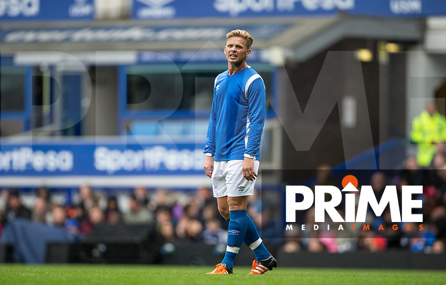 Jeff Brazier (TV Presenter) of Bradley's Blues shows his frustration during the BRADLEY LOWERY CHARITY Celebrity football MATCH at Goodison Park, Liverpool, England on 3 September 2017. Photo by Andy Rowland.