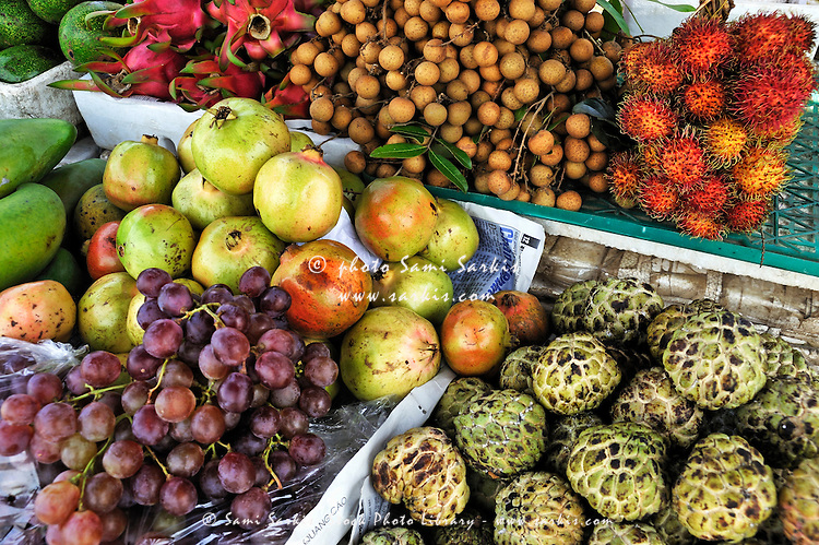 Variation of tropical fruits on stall at market, Hue, Vietnam