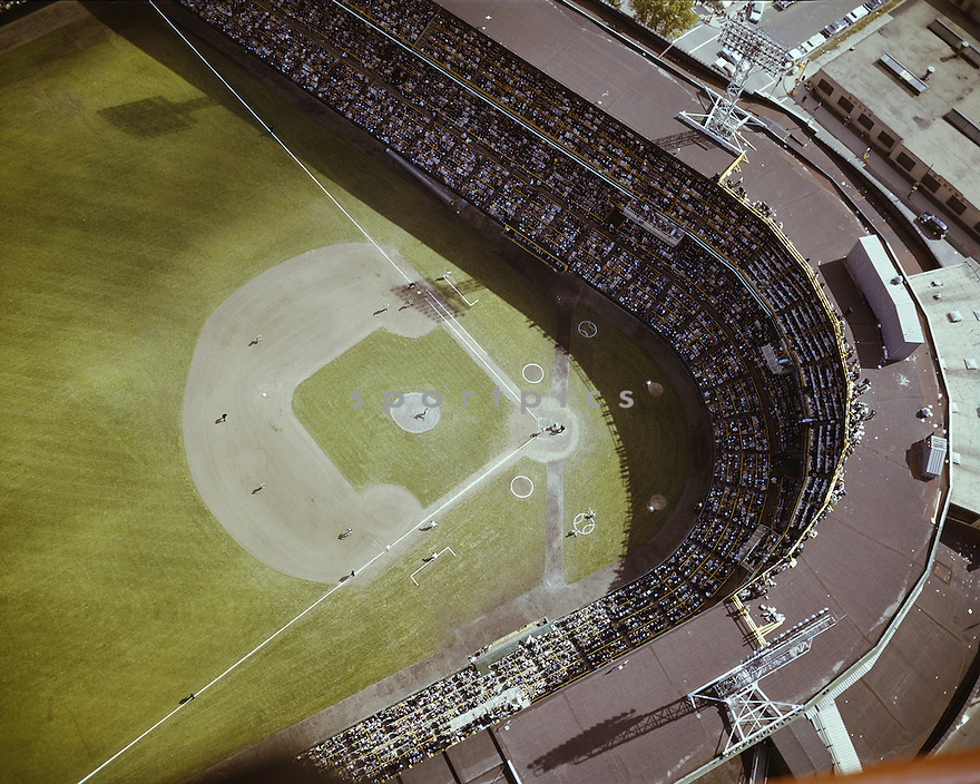 Over all of Comiskey Park during the Chicago White Sox 1959 World Series against the Los Angeles Dodgers.