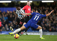 Pedro of Chelsea tackles Newcastle's Christian Atsu during Chelsea vs Newcastle United, Premier League Football at Stamford Bridge on 12th January 2019