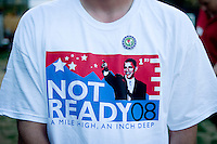 A Republican shows his distaste for the Democratic nominee for president Barack Obama with a t-shirt at the Republican's Rock the Rockies Rally and Picnic in Golden, Colorado, USA, Wednesday, August 27, 2008. While the Democrats are enjoying their time in Denver during the Democratic National Convention, Republicans took time to enjoy the company of others with similar political views...PHOTOS/  MATT NAGER