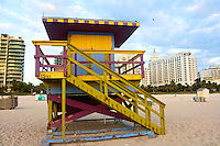 A colorful lifeguard stand on South Beach, Miami Beach, FL, November 22, 2010.  (Photo by Brian Cleary/www.bcpix.com)