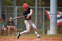 Ball State Cardinals right fielder Ross Messina (23) bats during a game against the Saint Joseph's Hawks on March 9, 2019 at North Charlotte Regional Park in Port Charlotte, Florida.  Ball State defeated Saint Joseph's 7-5.  (Mike Janes/Four Seam Images)
