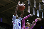 08 February 2015: Duke's Ka'lia Johnson (14) blocked a shot by Clemson's Tiffany Lewis (right). The Duke University Blue Devils hosted the Clemson University Tigers at Cameron Indoor Stadium in Durham, North Carolina in a 2014-15 NCAA Division I Women's Basketball game. Duke won the game 89-60.