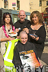 .HEAD SHAVED: Aine Murphy of Aines Cafe? who organised the Head Shave in the Square Tralee on Saturday for the Kerry Hospice Foundation in which Norma Keane of Aine's Cafe? volunteered to have her hair shaved l-r: Aine Murphy, Tim Collins and A nn Fenix of Claude Monte's Barbars The Square Tralee.... ....