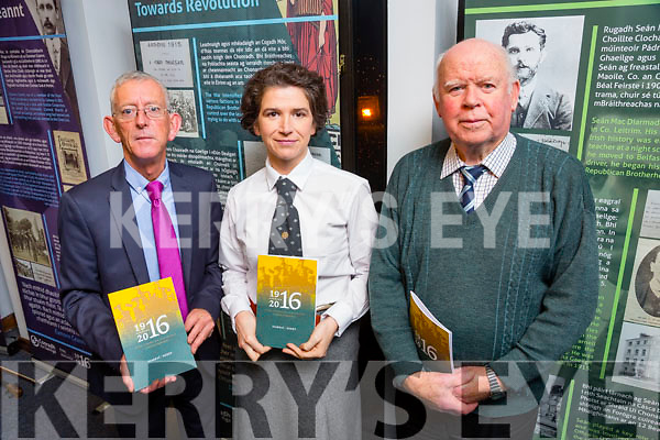 Launch of the Kerry 2016 Plan to commemorate the 1916 Rising at the Kerry County Library on Thursday. Pictured L-r  Cllr Sam Locke who is a member of the SPC, Arts, Culture and Gaeltacht , Caroline Lynch who is playing Maureen Creggan and Donal O'Sullivan, Historian from Tralee