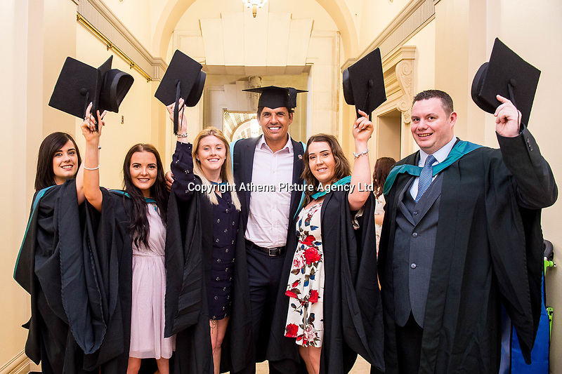 """Monday 10 July 2017<br /> Pictured: Chris Coleman poses with students after Receiving his Honorary Fellowship<br /> Re: Wales Football Manager, Chris Coleman was today (Monday, July 10th) awarded an Honorary Fellowship by the University of Wales Trinity Saint David (UWTSD) during the first of its Swansea graduation ceremonies in the city's Brangwyn Hall. <br /> Chris Colman 2<br /> <br /> On receiving the award, Chris Coleman said:  """"I've failed as many times as I've achieved but it's not about that, it's about self-belief and perseverance.   You'll have so many doubters along the way - if you haven't got belief in yourself you don't go a long way.  If you haven't got perseverance, your talent doesn't get you through.  If you think you can't, you won't.<br /> <br /> """"Everything I've ever achieved, I've had good people around me.  We've got a good saying, I can't but we can.  Make sure the 'we' are the people you want around you.<br /> <br /> """"With us, I'm the front man, I'm the one who speaks to the media; I pick the team and make the big decisions but I've got a team of people around me to help me with almost everything so I have to delegate well and listen to the good advice.  Surround yourself with good people.  Never be in a comfort zone or you won't achieve anything.<br /> <br /> """"I'm not telling you this because I read it in a book; because I saw it on TV or because someone told me.  I'm telling you because it's my experience."""""""