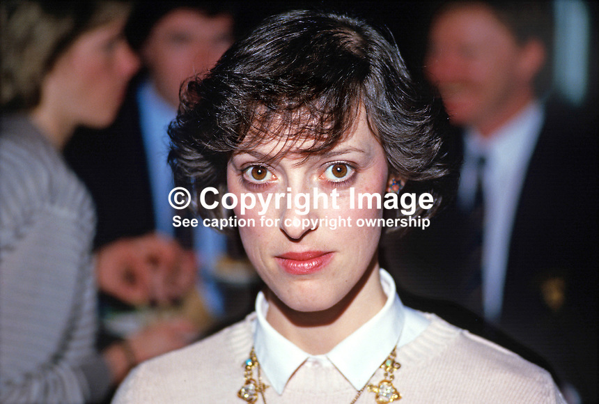 Rhonda Paisley, Democratic Unionist Party, Lady Mayoress, Belfast, N Ireland, daughter of Rev Ian Paisley, party leader, 19870505RP..Copyright Image from Victor Patterson, 54 Dorchester Park, Belfast, UK, BT9 6RJ..Tel: +44 28 9066 1296.Mob: +44 7802 353836.Voicemail +44 20 8816 7153.Skype: victorpattersonbelfast.Email: victorpatterson@me.com.Email: victorpatterson@ireland.com (back-up)..IMPORTANT: If you wish to use this image or any other of my images please go to www.victorpatterson.com and click on the Terms & Conditions. Then contact me by email or phone with the reference number(s) of the image(s) concerned.