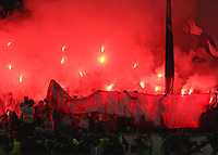 16th May 2018, Stade de Lyon, Lyon, France; Europa League football final, Marseille versus Atletico Madrid; Flares lit by the Marseille fans during the first half