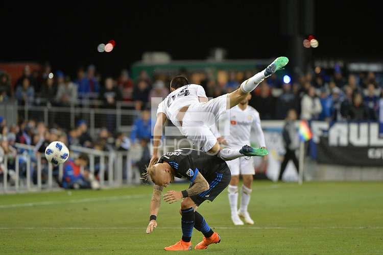 San Jose, CA - Saturday June 09, 2018: Magnus Eriksson, Joao Moutinho during a Major League Soccer (MLS) match between the San Jose Earthquakes and Los Angeles Football Club at Avaya Stadium.