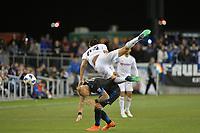 San Jose, CA - Saturday June 09, 2018: Magnus Eriksson, Joao Moutinho during a Major League Soccer (MLS) match between the San Jose Earthquakes and Los Angeles Football Club at Avaya Stadium.