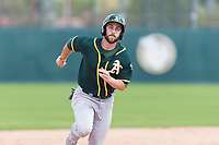 Oakland Athletics designated hitter Dustin Fowler (37) hustles towards third base during a rehab start in an exhibition game against Team Italy at Lew Wolff Training Complex on October 3, 2018 in Mesa, Arizona. (Zachary Lucy/Four Seam Images)