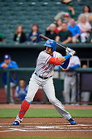 Round Rock Express first baseman Ronald Guzman (31) at bat during a game against the Memphis Redbirds on April 28, 2017 at AutoZone Park in Memphis, Tennessee.  Memphis defeated Round Rock 9-1.  (Mike Janes/Four Seam Images)