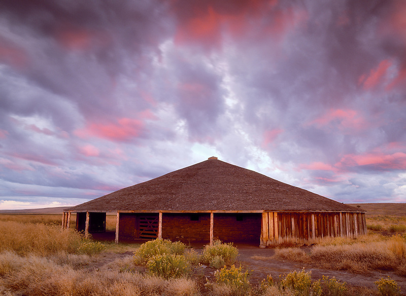 Round Barn at sunrise. Harney County, Oregon