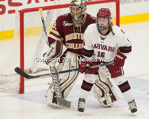 Katie Burt (BC - 33), Lexie Laing (Harvard - 16) - The visiting Boston College Eagles defeated the Harvard University Crimson 2-0 on Tuesday, January 19, 2016, at Bright-Landry Hockey Center in Boston, Massachusetts.