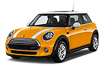 2017 MINI Cooper 3-door 3 Door Hatchback Angular Front stock photos of front three quarter view