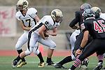 Palos Verdes, CA 11/10/11 - Matt Imwalle (Peninsula #17) and Tommy Webster (Peninsula #49) in action during the Peninsula-Palos Verdes varsity football game.