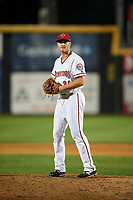 Harrisburg Senators relief pitcher Dakota Bacus (35) gets ready to deliver a pitch during a game against the Erie SeaWolves on August 29, 2018 at FNB Field in Harrisburg, Pennsylvania.  Harrisburg defeated Erie 5-4.  (Mike Janes/Four Seam Images)