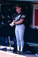 OAKLAND, CA - Wade Boggs of the Tampa Bay Devil Rays watches from the dugout before a game against the Oakland Athletics at the Oakland Coliseum in Oakland, California in 1998. Photo by Brad Mangin