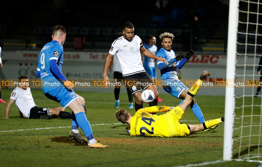 Dior Angus goes close for Barrow during Dover Athletic vs Barrow, Vanarama National League Football at the Crabble Athletic Ground on 4th February 2020
