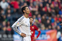 14.12.2013, Pamplona, Spain. La Liga football Osasuna  versus  Real Madrid.    Cristiano Ronaldo, Real Madrid striker, during the game between Osasuna and Real Madrid  from the Estadio de El Sadar.