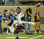 BROOKINGS, SD - OCTOBER 7: Alex Wilde #10 from South Dakota State University dives to make a catch in front of Craig James #1 from Southern Illinois in the second half of their game Saturday night at Dana J. Dykhouse Stadium in Brookings. (Photo by Dave Eggen/Inertia)
