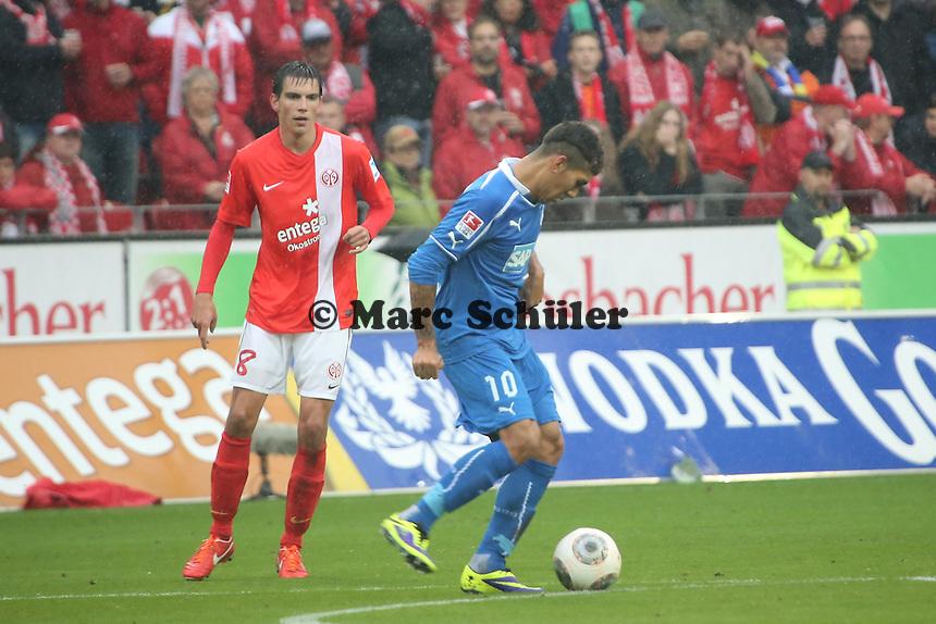 Roberto Firmino (Hoffenheim) gegen Christoph Moritz (Mainz) - 1. FSV Mainz 05 vs. TSG 1899 Hoffenheim, Coface Arena, 8. Spieltag