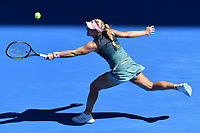 January 14, 2019: 2nd seed Angelique Kerber in action in the first round match against Polona Hercog on day one of the 2019 Australian Open Grand Slam tennis tournament in Melbourne, Australia. Kerber won 62 62. Photo Sydney Low