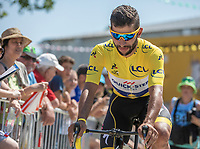 Yellow Jersey Fernando Gaviria (COL/Quick Step Floors) on his way to the pre race sign on.<br /> <br /> Stage 2: Mouilleron-Saint-Germain > La Roche-sur-Yon (183km)<br /> <br /> Le Grand Départ 2018<br /> 105th Tour de France 2018<br /> ©kramon