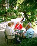 Seniors in a park in Liguria, Italy