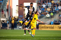 Sheanon Williams (25) of the Philadelphia Union goes up for a header with Ben Speas (17) of the Columbus Crew. The Philadelphia Union defeated the Columbus Crew 3-0 during a Major League Soccer (MLS) match at PPL Park in Chester, PA, on June 5, 2013.
