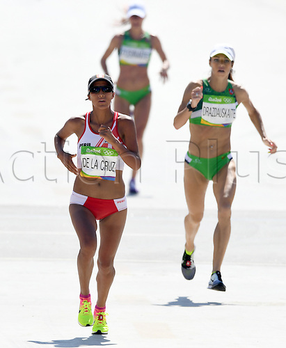14.08.2016. Rio de Janeiro, Brazil. Jovana de la Cruz (L) of Peru and Rasa Drazdauskaite (R) of Lithuania in action during the Women's Marathon of the Athletic, Track and Field events during the Rio 2016 Olympic Games at Sambodromo in Rio de Janeiro, Brazil, 14 August 2016.