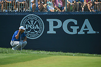 Tiger Woods (USA) lines up his putt on 9 during 3rd round of the 100th PGA Championship at Bellerive Country Club, St. Louis, Missouri. 8/11/2018.<br /> Picture: Golffile | Ken Murray<br /> <br /> All photo usage must carry mandatory copyright credit (&copy; Golffile | Ken Murray)