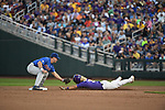 OMAHA, NE - JUNE 26: Kramer Robertson (3) of Louisiana State University is tagged out at second base by Deacon Liput (8) of the University of Florida during the Division I Men's Baseball Championship held at TD Ameritrade Park on June 26, 2017 in Omaha, Nebraska. The University of Florida defeated Louisiana State University 4-3 in game one of the best of three series. (Photo by Justin Tafoya/NCAA Photos via Getty Images)