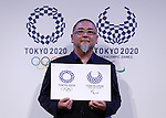 April 25, 2016, Tokyo, Japan - Japanese designer Asao Tokolo poses with his winning designs for the Tokyo 2020 Olympic Games and Paralympic Games during an unveiling ceremony on Monday, April 25, 2016. (Photo by AFLO)