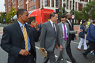 September 16, 2013  (Washington, DC)  D.C. Mayor Vincent Gray (c) and Pedro Riberio, Director of Communications, leave the area of the Washington Navy Yard after Gray addressed the news media about the Navy Yard shootings September 16, 2013.  (Photo by Don Baxter/Media Images International)