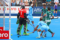 Talwinder Singh of India turns in celebration as his team take a 2-0 lead during the Hockey World League Semi-Final 5-8th place match between Pakistan and India at the Olympic Park, London, England on 24 June 2017. Photo by Steve McCarthy.