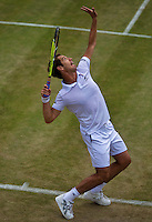 England, London, Juli 06, 2015, Tennis, Wimbledon, Richard Gasquet (FRA) serves<br /> Photo: Tennisimages/Henk Koster