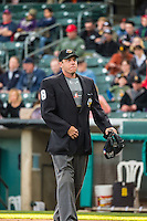 Umpire Brian Reilly handles the calls behind the plate during the Pacific Coast League game between the Salt Lake Bees and the Sacramento River Cats at Smith's Ballpark on August 27, 2015 in Salt Lake City, Utah.  (Stephen Smith/Four Seam Images)