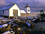 Winter view of Grindle Point Lighthouse in Islesboro, Maine, USA
