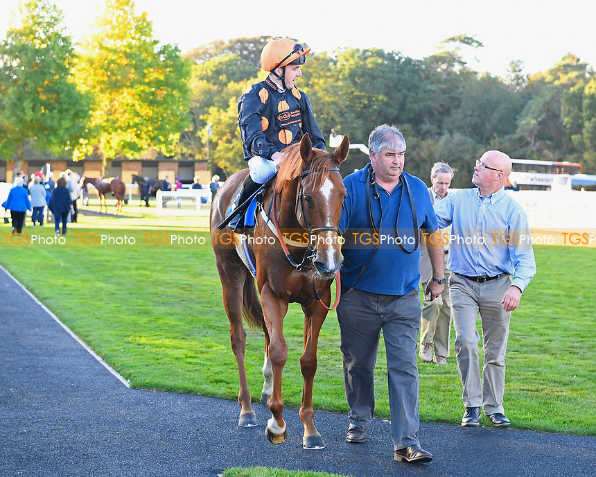 Winner of The Quantuma 'Season Finale' Handicap Stakes     Equimou ridden by Martin Harley and trained by Robert Eddery is led into the Winners Enclosure during Afternoon Racing at Salisbury Racecourse on 3rd October 2018