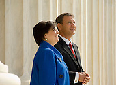 Chief Justice of the United States John G. Roberts, Jr. and Associate Justice Elena Kagan pose at the top of the steps of the U.S. Supreme Court Building following her formal Investiture Ceremony at the U.S. Supreme Court in Washington, D.C. on Friday, October 1, 2010..Credit: Steve Petteway - USSC via CNP