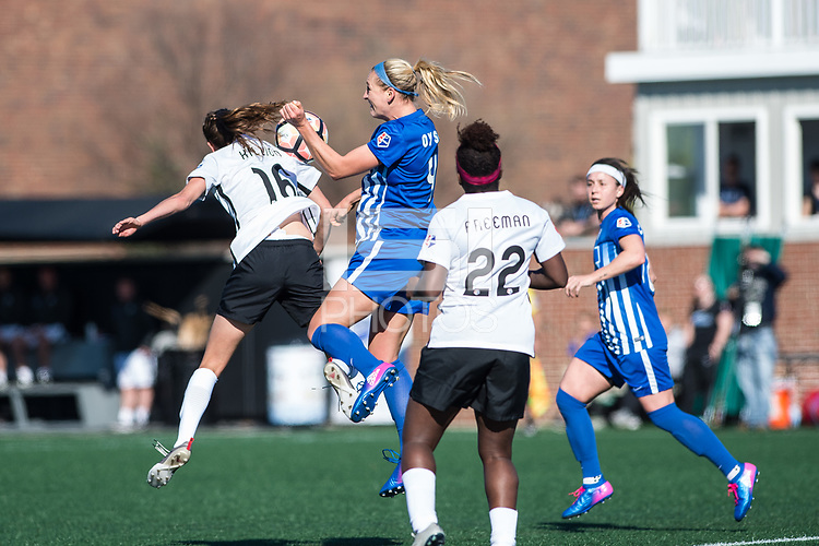 Boston, MA - Sunday April 23, 2017: Sarah Killion, Megan Oyster during a regular season National Women's Soccer League (NWSL) match between the Boston Breakers and Sky Blue FC at Jordan Field.